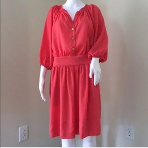 Eliza J Dress Plus 16 Coral Pull Over 3/4 Sleeve